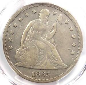 1865 SEATED LIBERTY SILVER DOLLAR $1   PCGS FINE DETAILS    CIVIL WAR DATE