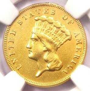 1885 THREE DOLLAR INDIAN GOLD COIN $3   CERTIFIED NGC AU DETAILS    DATE