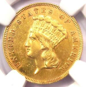 1866 THREE DOLLAR INDIAN GOLD COIN $3   CERTIFIED NGC AU DETAILS    DATE
