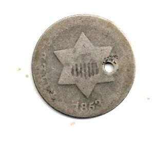 1853 THREE   3   CENT SILVER ONE COIN