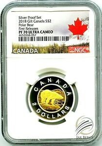 Click now to see the BUY IT NOW Price! 2018 CANADA $2 GILT SILVER PROOF POLAR BEAR TOONIE NGC PF70 UCAM FIRST RELEASES