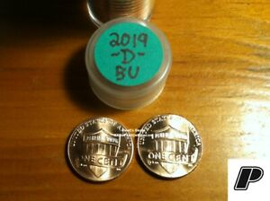 2 COINS  2019 D LINCOLN CENTS PENNY FROM BU ROLLS  DENVER ONLY   FREE FAST S&H