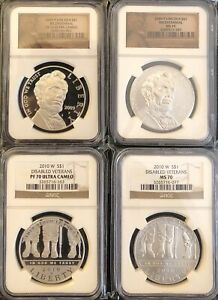 Click now to see the BUY IT NOW Price!  4  COINS 2010W $1 DISABLED VETERANS SET 70 2009P LINCOLN BICENTENNIAL SET 70