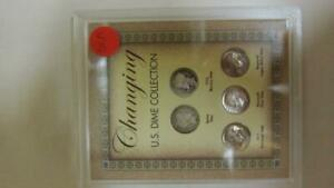CHANGING US DIME COLLECTION 5 COINS IN DISPLAY CASE COA