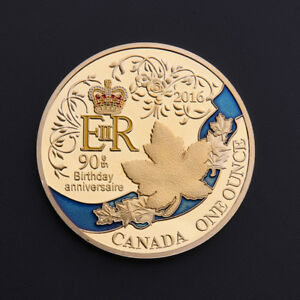 GOLD QUEEN ELIZABETH II 90TH ANNIVERSARY COMMEMORATIVE COIN CANADIAN COLLECTION