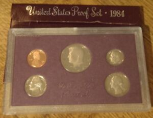 1984 S UNITED STATES PROOF SET   5 COINS PENNY TO HALF DOLLAR   W/ BOX