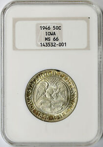 1946 IOWA 50C COMMEMORATIVE HALF DOLLAR NGC MS66