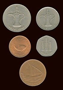 UNITED ARAB EMIRATES:  5 DIFFERENT CIRCULATION COINS DATED 1970'S 2000'S  AP7255
