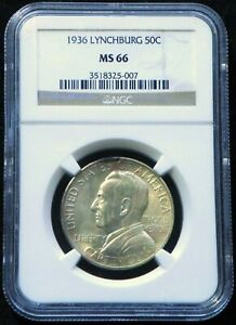 1936 MS 66  LYNCHBURG SESQUICENTENNIAL CLASSIC COMMEMORATIVE HALF 20 013 MINTED