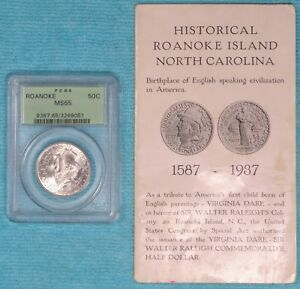 1937 MS65 ROANOKE ISLAND ONLY 29 030 MINTED EARLY COMMEMORATIVE SILVER HALF