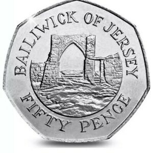 BAILIWICK OF JERSEY COIN 50P PENCE GROSNEZ CASTLE 2016 NEW UNC FROM BAGS