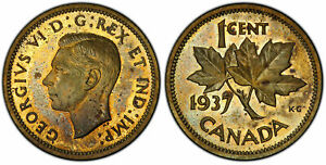 Click now to see the BUY IT NOW Price! CANADA. GEORGE VI. 1937 BRASS PATTERN CENT. PCGS SP64. KM TS5  THICK PLANCHET