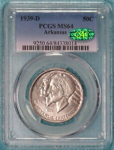 1939 D MS 64 & CAC ARKANSAS CENTENNIAL COMMEMORATIVE SILVER HALF 2 104 MINTED 3