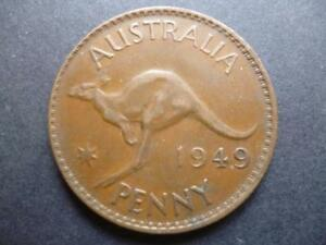 AUSTRALIA ONE PENNY COIN 1949 IN GOOD USED CONDITION BRONZE FEATURES KANGAROO