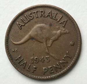 DATED : 1943   AUSTRALIA   ONE HALF PENNY   COIN   KING GEORGE VI