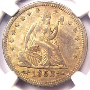 1853 ARROWS & RAYS SEATED LIBERTY QUARTER 25C   NGC VF DETAILS    TYPE COIN