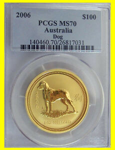 Click now to see the BUY IT NOW Price! 2006 CHINESE LUNAR YEAR OF THE DOG PCGS MS 70 AUSTRALIA 1 OZ 9999 GOLD POP 15