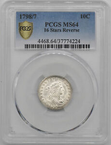 Click now to see the BUY IT NOW Price! 1798/97 DRAPED BUST 10C PCGS MS 64