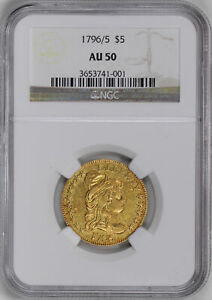 Click now to see the BUY IT NOW Price! 1796/5 DRAPED BUST $5 NGC AU 50
