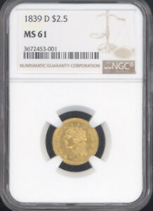 Click now to see the BUY IT NOW Price! 1839 D $2.5 CLASSIC HEAD GOLD NGC MS61