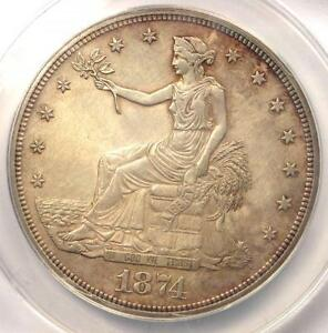 1874 PROOF TRADE SILVER DOLLAR T$1   CERTIFIED ANACS PR60 DETAILS  PF60
