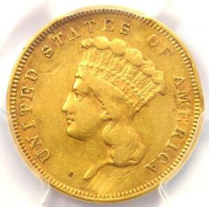 1856 S THREE DOLLAR INDIAN GOLD COIN $3   CERTIFIED PCGS XF DETAILS    DATE
