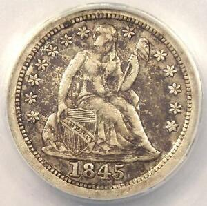 1845 O SEATED LIBERTY DIME 10C   ANACS XF45 DETAILS    EF45 NEW ORLEANS
