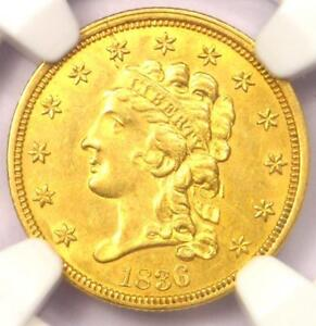 1836 CLASSIC GOLD QUARTER EAGLE $2.50 COIN   NGC UNCIRCULATED DETAILS  UNC MS