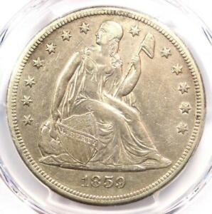 1859 O SEATED LIBERTY SILVER DOLLAR $1   CERTIFIED PCGS AU DETAILS    COIN