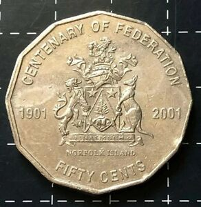 2001 AUSTRALIAN 50 CENT COIN CENTENARY OF FEDERATION   NORFOLK ISLAND N.I