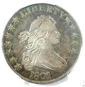 1801 DRAPED BUST HALF DOLLAR 50C COIN   CERTIFIED PCGS XF45  EF45     DATE