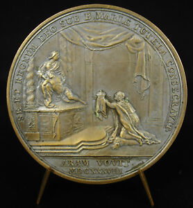 MEDAL LOUIS XIII KINGDOM PROTECTED BY THE BLANK T BERNARD 1638 OVERTYPE MEDAL