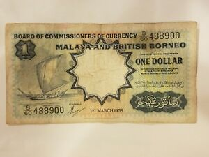 Click now to see the BUY IT NOW Price! 1959 MALAYA AND BRITISH BORNEO $1 ONE DOLLAR COLONIAL MALAYSIA NOTE KM / P 8A