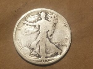 Click now to see the BUY IT NOW Price! 1917 P WALKING LIBERTY 90  SILVER HALF DOLLAR 50 CENT COIN WORLD WAR ONE RELIC