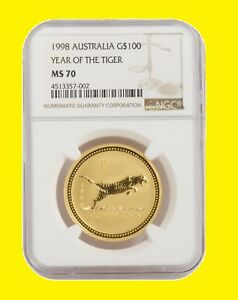 Click now to see the BUY IT NOW Price! 1998 CHINESE LUNAR YEAR OF THE TIGER NGC MS 70 AUSTRALIA 1 OZ 9999 GOLD