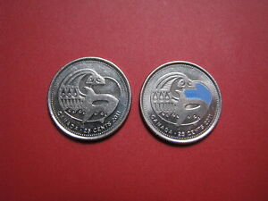 25 CENT 2011 ORCA   2 COINS ONE COLORED  A197