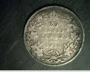 1918 CANADA 25 CENTS MEDIUM GRADE CIRCULATED .1734 OZ SILVER  CAN 592