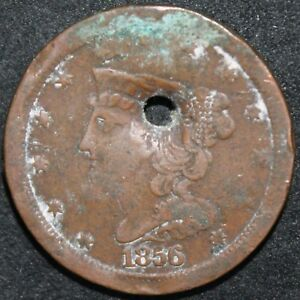 1856 | U.S.A. HALF CENT 'HOLED' | COPPER | COINS | KM COINS