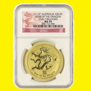 Click now to see the BUY IT NOW Price! 2012 AUSTRALIA CHINESE LUNAR YEAR OF THE DRAGON NGC MS 70 ER 1 OZ 9999 GOLD