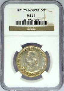 1921 2X4 MS 64 MISSOURI UNCIRCULATED SILVER COMMEMORATIVE HALF 10 000 MINTED NGC