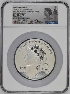 Click now to see the BUY IT NOW Price! CANANDA 2019 PEACE LIBERTY NGC PF70  DUAL MERCANTE / TAYLOR 10 OZ  & 1 OZ FDI