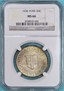 1936 MS 66 YORK MAINE ONLY 25 015 MINTED EARLY SILVER COMMEMORATIVE HALF 2