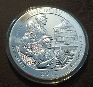 2017 US AMERICA THE BEAUTIFUL 5 OZ.SILVER ELLIS ISLAND COIN { NEW JERSEY }