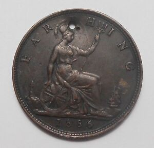 1886 GREAT BRITAIN FARTHING XF HOLED    HIGH GRADE  DATE VICTORIAN UK COIN