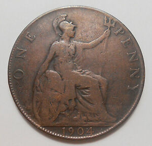 1904 GREAT BRITAIN PENNY VG  NICE BETTER EARLY KING EDWARD VII UK BRONZE COIN