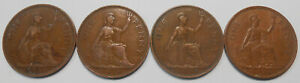 1937 1938 1939 1940 GREAT BRITAIN PENNY NICE WWII GEORGE VI UK 4 BRONZE COIN LOT