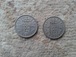 2 ONE SHILLING COINS  1954  1955