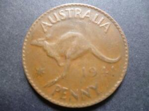 AUSTRALIA ONE PENNY COIN 1941 IN GOOD USED CONDITION BRONZE FEATURES KANGAROO
