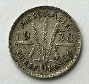 DATED : 1938   SILVER COIN   AUSTRALIA   THREEPENCE   3D   KING GEORGE VI
