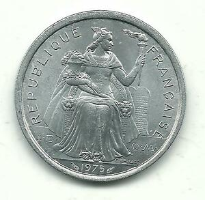 VERY NICE HIGH GRADE BU 1975 FRENCH POLYNESIA 2 TWO FRANCS COIN DEC739